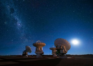 ALMA antennas under the Milky Way